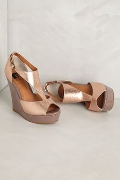 copper metallic wedges, yes please! #anthropologie
