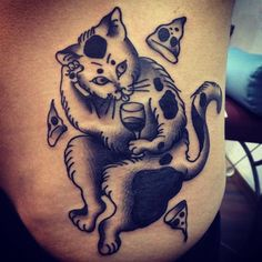 Pizza wine cat by @hornypony Tag us in your pizza tattoos: @pizzatattoos #pizzatattoos
