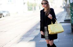 The italian blogger Veronica Ferraro from the Fashion Fruit wearing a Tara Jarmon skirt from Fall Winter 13-14 collection.  #tarajarmon #tweed #skirt