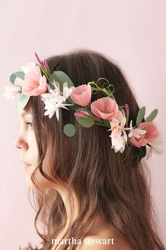 """A lot can go wrong when someone wears a real flower wreath,"" Cetti says. ""They can be heavy and fall apart easily."" Neither of which is a problem with her romantic cherry blossom and jasmine headpiece. Love it? Check out the full how-to in her book. #weddingideas #wedding #marthstewartwedding #weddingplanning #weddingchecklist How To Make Paper Flowers, Flowers For You, Real Flowers, Diy Flowers, Flower Wreaths, Diy Papier, Crepe Paper, Flower Crafts, Flower Making"