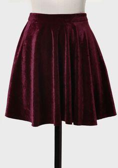 Till Next Time Velvet Skater Skirt