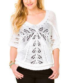 Love this White Kia Knit Dolman Sweater by Yest on #zulily! #zulilyfinds