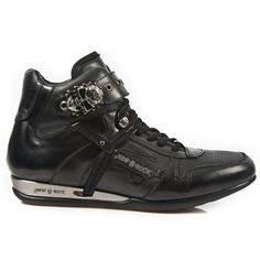 Black Leather Hi-Top Shoes w Skull Buckle-Quality black leather dress shoes from New Rock Shoes. Lacing up the front, Skull buckle on the top to adjust for comfort. Metal on the heels. Available in all Unisex Sizes. This Pair is in Stock and ships ou Dress With Sneakers, All Black Sneakers, High Top Sneakers, Top Shoes, Dress Shoes, Black Leather Dresses, Hiking Boots, Skull, Lace Up
