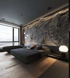 How To Use Lighting And Textures To Add Interest To Dark Interiors Dark decor interiors that feature textured feature walls with modern lighting ideas, including wood slatted wall panels, and rustic stone feature walls. Luxury Bedroom Design, Bedroom Bed Design, Home Room Design, Home Interior Design, Bedroom Decor, Bedroom Ideas, Master Bedroom, Interior Design Examples, Stone Interior