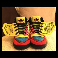 "Jeremy Scott x Adidas Originals Wings (Kids) Jeremy Scott x Adidas Originals! JS WINGS Rainbow Sun Poppy Black ""Multicolor Fleece"" Hard to find. Kids size 7.5 Worn one time. In great condition. SUPER cute and colorful! Adidas Shoes Sneakers"
