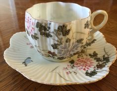 Antique Meiji Japanese Kutani Ribbed Porcelain Tea Cup Saucer Lobed Hand Painted | eBay