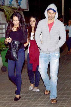 Varun Dhawan spotted with his girlfriend Natasha Dalal at a Juhu multiplex.