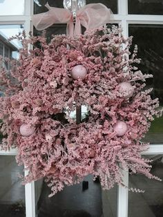 Pink Statice Wreath Natural Wreath Dried by donnahubbard