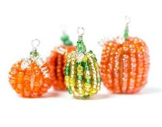 Bring your favorite fall motif into your beadwork with this pattern for Precious Pumpkin Beads. Halloween craft ideas for beaders can be hard to come by, which makes these little seed bead squashes extra special.