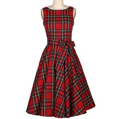 Vintage Jewel Neck Sleeveless Plaid Belted Women A-line Dress #valentineday #Coupons #gifts #love