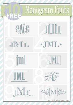 Hacks : best ever FREE fonts for Monograms! Great ideas on how to use monograms too! Decor Hacks : best ever FREE fonts for Monograms! Great ideas on how to use monograms too! Embroidery Fonts, Machine Embroidery Designs, Simple Embroidery, Embroidery Ideas, Inkscape Tutorials, Pattern Texture, Free Monogram, Monogram Letters, Cricut Monogram Font