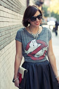 vintage graphic t-shirt + leather skirt + jewels. LOVE this outfit by My Style Pill