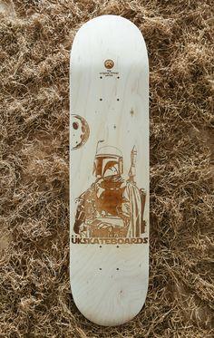 Laser engraved Boba Fett skateboard deck. by UberKreativeDesign