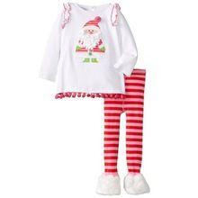 2-8 Year Children Set 2015 Kids Girls Christmas Pajamas 100%cotton Long Sleeves T Shirt +pants 2pcs Baby Clothes Set Retail(China (Mainland))
