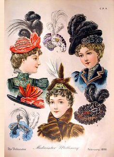 Victorian Fashion Plate, Ladies' Hats ~ February 1898.