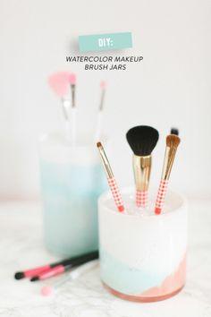 DIY makeup jars: http://www.stylemepretty.com/living/2014/12/02/diy-watercolor-makeup-brush-jars/   Photography: Ruth Eileen - http://rutheileenphotography.com/