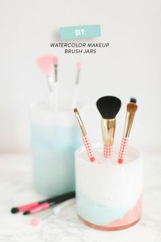 DIY watercolor makeup brush jars