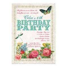 Vintage Garden Birthday Party Invitation