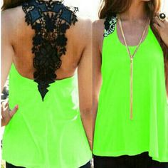 NWT lime green tank with black lace Get ready for spring and summer fun with this lime green tank with sexy black lace detail. Still in package from manufacturer. Please note this short may run a little small Tops Tank Tops