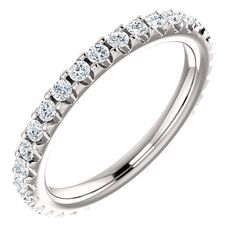 The ring in size holds approximately 33 round brilliant cut diamonds with total weight of The diamonds are graded as VS in clarity G-H in color. Diamond Wedding Rings, Wedding Ring Bands, Fine Jewelry, Women Jewelry, Jewelry Box, Diamond Clean, Perfect Gift For Mom, Eternity Bands, White Gold Diamonds