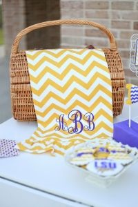 Monogrammed table runner, for a personal touch of class.