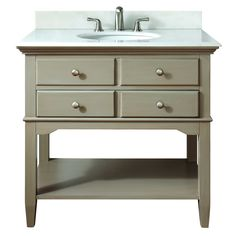 "Possible: downstairs bathroom  Avanity 10702VS37J Cannes 37"" Vanity Set in Distressed Gray 