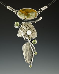 Necklace | Algirdas Morkunas.   sterling silver, stone, gemstone, freshwater pearl, leather, 2011
