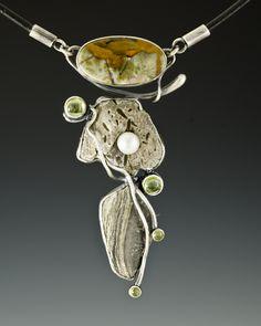 Necklace | Algirdas Morkunas.   sterling silver, stone, gemstone, freshwater pearl, leather, 2011