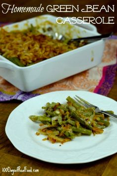 Green Bean Casserole (with French Fried Onions!) made with real ingredients. No canned cream of mushroom :)