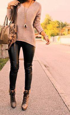 see more Black Leather Pants, Suitable Sweater, Boats and Bag