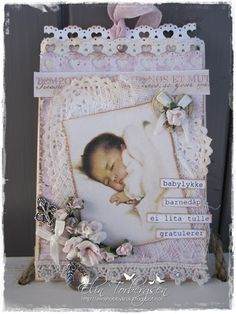 """Baptism card by LLC DT Member Elin Torbergsen, using papers from Maja Design's """"Vintage Spring Basics"""" collection. Beautiful Handmade Cards, Unique Cards, Kids Scrapbook, Scrapbook Cards, Scrapbooking Ideas, Baptism Cards, Baby Barn, New Baby Cards, Love Craft"""