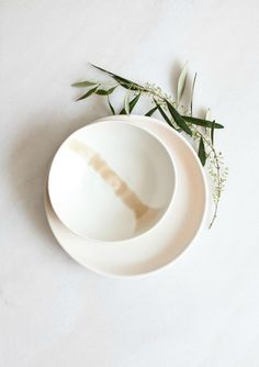 White and blush pink porcelain bowl