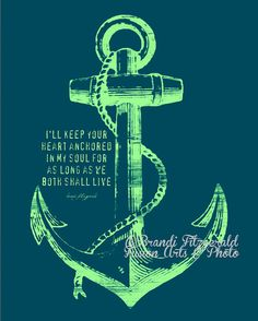 Anchored In Happily Ever After, Two. Marriage Anchor Quote Fusion Paintographic Fine Art Print by Brandi Fitzgerald