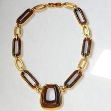 Vintage 1976 GIVENCHY Brown Lucite Brushed Gold Necklace at rubylane.com