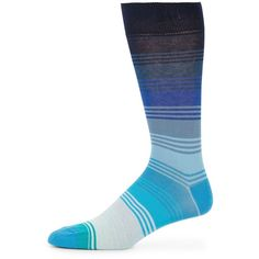Saks Fifth Avenue Made in Italy Mid-Calf Ombre Stripe Cotton-Blend... ($6.49) ❤ liked on Polyvore featuring men's fashion, men's clothing, men's socks, navy, mens socks and mens striped socks