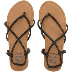 Billabong Crossing Over Sandal A cross between a slim silhouette and nomadic lines, this versatile sandal is perfect for exploring coastal towns without packing on the shoe options. - Braided strappy