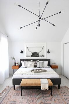 A patterned rug or patterned sheets and pillows can really elevate your Scandinavian bedroom decor. Fluffy Blankets, Fluffy Rug, Scandinavian Bedroom Decor, Scandinavian Design, Bedroom Decor Master For Couples, Bedroom Ideas, Bedroom Color Schemes, Bedroom Colors, White Wall Bedroom
