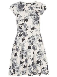 Nude Floral Keyhole Dress