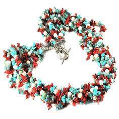 009 Multi Strands Turquoise, Coral  #WomensJewelry