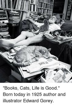 THIS IS ---NOT ERNEST HEMINGWAY -----~ ~ This is ~ ~ Edward Gorey, Author, napping in his library with his cats.Edward Gorey, known for his macabre, gothic illustrated books including The Gashlycrumb Tinies and The Doubtful Guest . Edward Gorey, Ernest Hemingway, Hemingway Cats, Crazy Cat Lady, Crazy Cats, I Love Cats, Cute Cats, Adorable Kittens, Patricia Highsmith