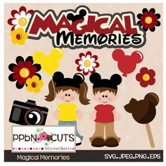 """""""Magical Memories"""" SVG set includes a """"Magical Memories"""" title, little girl character, little boy character, red flower, yellow flower, 2 layered flowers, camera and magical ice cream treat"""