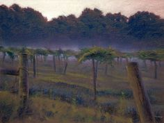 """Morning Vineyard"" pastel on paper. This painting from a few years ago was an attempt to capture the early morning colors and atmosphere. It is a bit looser than my normal work but I felt it suited the subject. Landscape Art, Landscape Paintings, Various Artists, Early Morning, Impressionism, Painting & Drawing, Mists, Vineyard, Pastel"