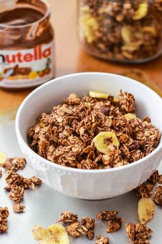 Banana Nutella Granola by sallysbakingaddiction.com #granola #nutella