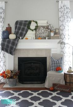 Plaids, neutrals and a few pops of autumnal color bring this message of gratitude home. I love the sweet reminder to be grateful this season - and always! | Grateful Fall Mantel | Details at TheTurquoiseHome.com