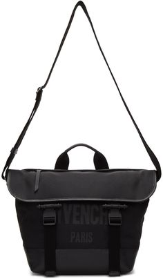 GIVENCHY Black Canvas Messenger Bag. #givenchy #bags #shoulder bags #hand bags #canvas #leather #lining #