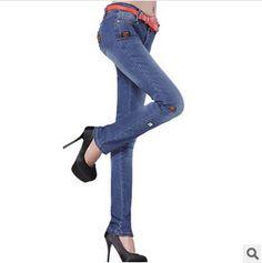2014 printemps et en automne féminine's corée. style slim patch femelle, crayon de mode jeans pantalon taille basse 26-30 g0749