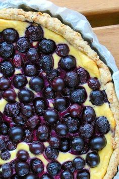 "Gluten-Free Blueberry and Sweet Ricotta Crostata | ""Fresh, unsweetened blueberries and a sweet ricotta cream top a gluten-free shortbread crust for a delicious dessert or brunch treat. This shortbread recipe uses less sugar than traditional recipes as well as using dark brown sugar to give a deeper flavor."" #dessertrecipes #dessertideas #sweettreats"