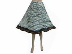 Amazon.com: Bohemian Skirt White Teal Blue Floral Cotton Skirts for Womens: Clothing