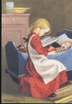 Finnish illustrator Martta Wendelin School Posters, Old Paintings, Vintage Pictures, Vintage Ads, Love Art, Martini, Finland, Postcards, Fairy Tales