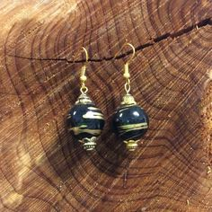 Handcrafted Black & Gold Beaded Earrings